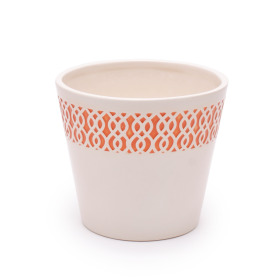 Ceramic Pot Tribal 4 in orange