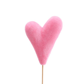 Heart Flocked Love 10x14cm on 50cm stick pink