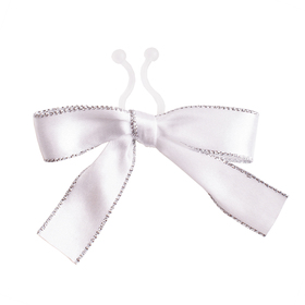 Satin bow Carol 10cm with clip white