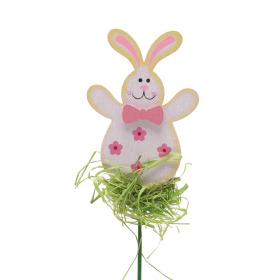 Happy Rabbit 8cm on 15cm stick pink