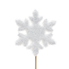 Snowflake Ø10cm on 50cm stick white