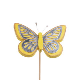 Butterfly Tess 9cm on 50cm stick yellow