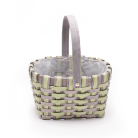 Basket Stripes oval with handle 23x19cm green