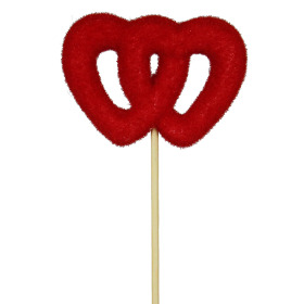 Double Heart 4in on 20in stick red