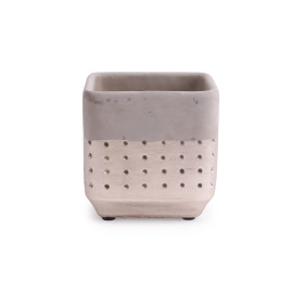 Concrete Pot Filigree 13.6x13.6 H13cm champagne