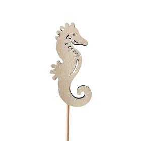 Sea horse June 8cm on 50cm stick white