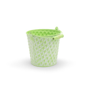 Zinc Bucket Diamond 5 in washed green