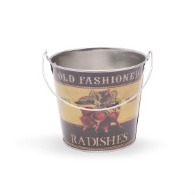 Zinc Bucket Old Fashioned Radishes Ø5 H4.5 in