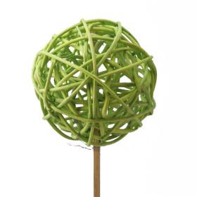 Rattan/Lata Ball 8cm on 50cm stick green