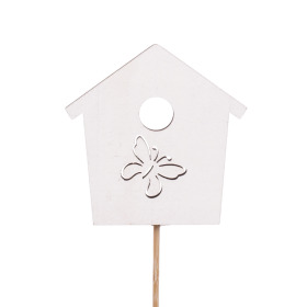 Bird house Memories 7cm on 50cm stick white