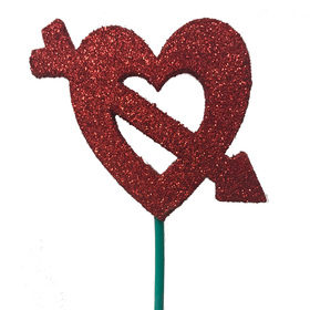 Heart Cupid 8cm on a 50cm stick red/glitter