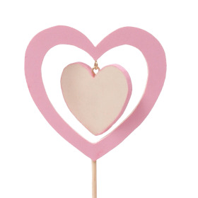 Wooden Heart In Heart 9cm on 50cm stick pink