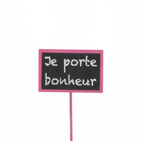 Je porte Bonheur 7,5x5cm op 22cm stok fuchsia