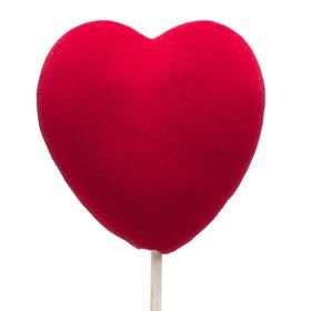 Velvet Heart Big 12cm on 50cm stick red