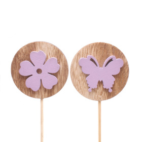 Flora and Fauna assorti 5.5cm on 10cm stick lilac