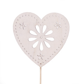 Heart Flower Art 8cm on 50cm stick white