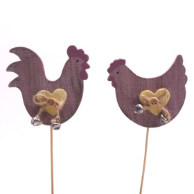 Chicken and Rooster mixed 7.5cm on 50cm stick pink