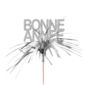 Bonne Annee 7cm on 50cm stick silver
