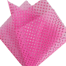 Sheet Organza Metallic Dots 30x30cm pink