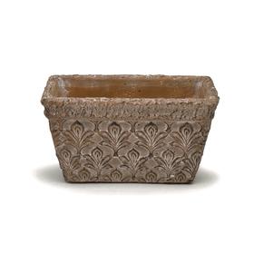 Pot rectangular Fleur de Lis  18x11 H10cm taupe