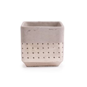 Concrete Pot Filigree 15.3x15.3 H15cm champagne