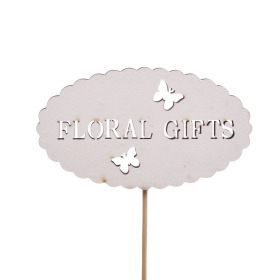 Floral Gifts 8.5cm on 10cm stick white