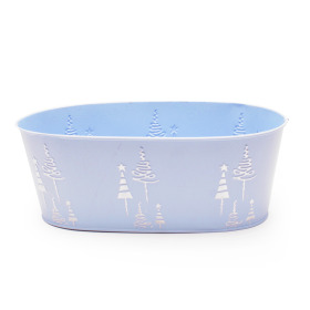 Zinc Oval X-Mas Tree 25x13xH9.5cm ice blue