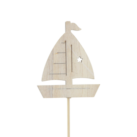 Boat Sailing Home 7cm on 50cm stick whitewash