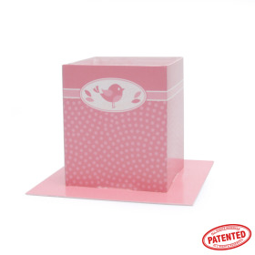 Card Pot Dotty Bird 8.5x8.5x10cm pink