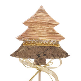 Kerstboom Chique Nature 8,5x9cm op 10cm stok goud