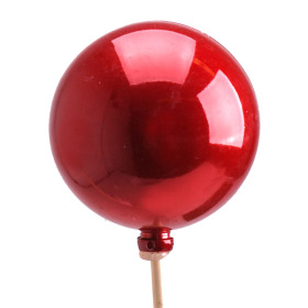 Christmas Ball Pearl 6cm on 50cm stick red