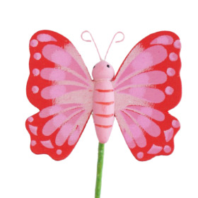 Wooden Butterfly 6cm on 50cm stick red