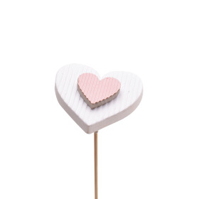 Heart Flavour 7cm on 50cm stick white