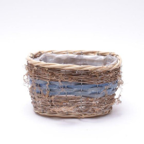 Basket oval 20x13cm blue