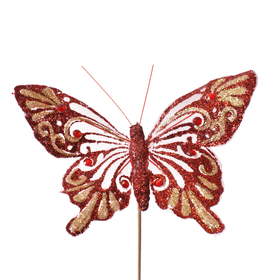 Butterfly Noëlle 14cm on 50cm stick red