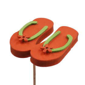 Flip Flops 3 in on 20 in stick orange