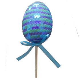 Paillette Egg 2.75 in on 20 in stick lilac/blue