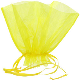 ORGANZA BQT ROSET HOLDER 20x12 IN YELLOW