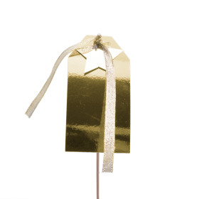Christmas Greeting Card 10x5cm on 50cm stick gold