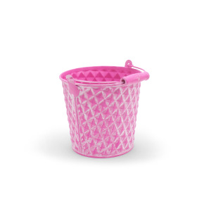 Zinc Bucket Diamond 5 in washed pink