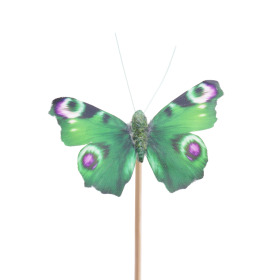 Butterfly Auralia 8cm on 50cm stick green