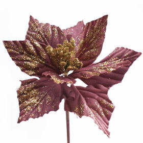 Poinsettia 20cm on 50cm stick old pink