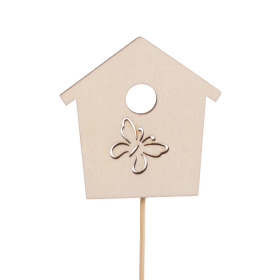 Bird house Memories 7cm on 50cm stick natural