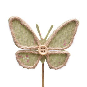 Butterfly Linn 8.5cm on 10cm stick green