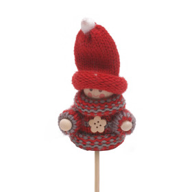 Winter Doll Scotty 6.5cm on 10cm stick red/gray