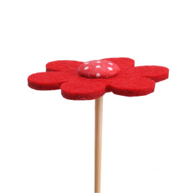 Flower Felt 5cm on 15cm stick red