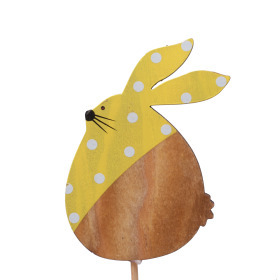Polka Dot Bunny 9cm on 10cm stick yellow