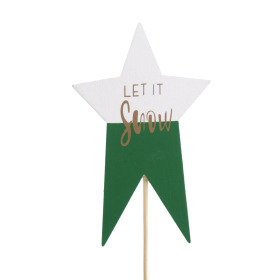 Star Let it Snow 7x11cm on 50cm stick green