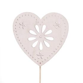 Hart Flower Art 6cm op 10cm stok wit