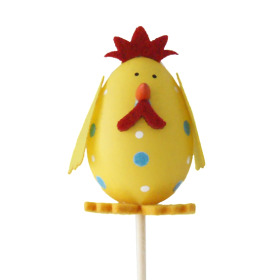 Egg chicken 7cm on 10cm stick yellow